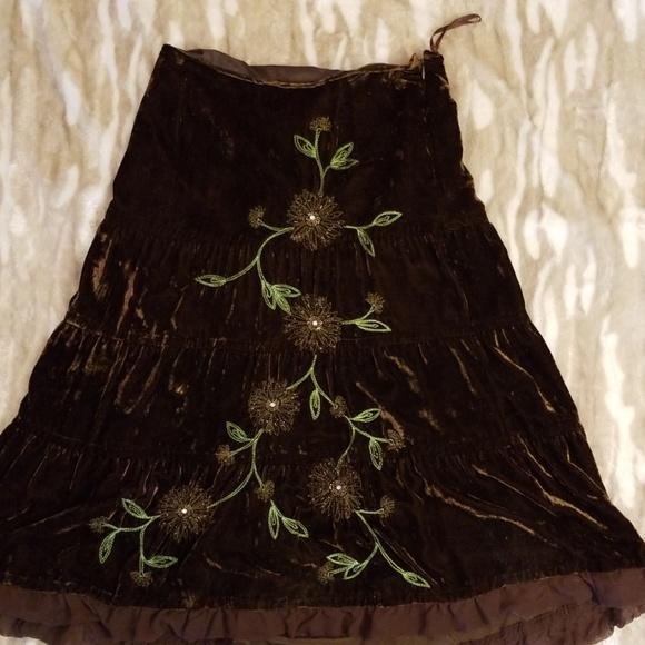 Carole Little Dresses & Skirts - Carole Little Velvet Embroidered Maxi Skirt